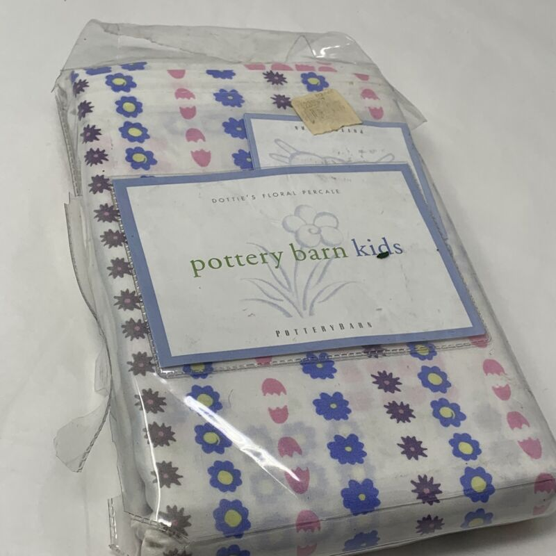 New Pottery Barn Kids Crib Duvet Cover Dotties Floral Percale 100% Cotton