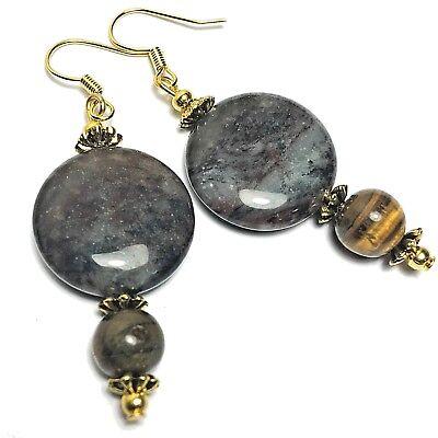 Tigers Eye Earrings Old Gold Style Glass Beads Hooks Clip On or Butterfly Studs Clip Tigers Eye Earrings