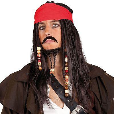Kostüm Karibischer Pirat Jack Sparrow Schwarz Dreadlocks Perücke & - Pirat Jack Kostüm
