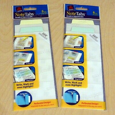 12 Ct. Avery Notetabs 3 X 7.5 Note Tabs Perforated Long Pastel Blue Green Yellow