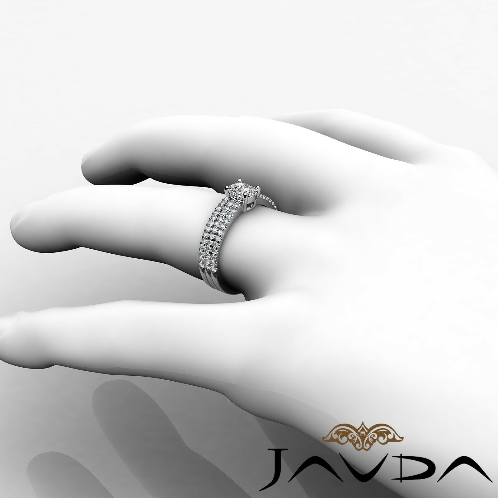 1.8ctw Bridal Scalloped Pave Cushion Diamond Engagement Ring GIA F-VVS2 W Gold 5