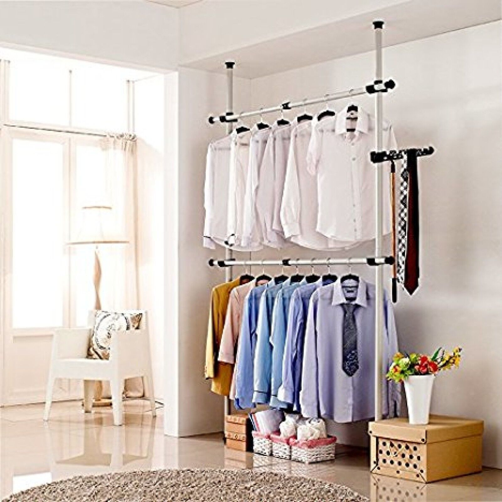 Clothes Hanger Wardrobe Storage Rack Heavy Duty Portable Garment Closet 60 In