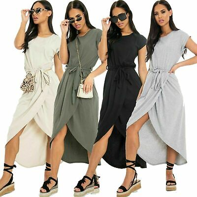 New Ladies Womens Belted Short Sleeve Tie Wrap Casual Summer Midi Maxi Dress Belted Jersey-shorts
