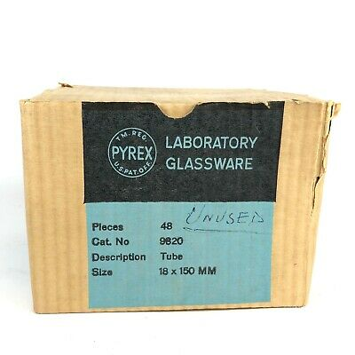 Vintage Pyrex Laboratory Glassware Box Of 42 Test Tubes Size 18 X 150mm