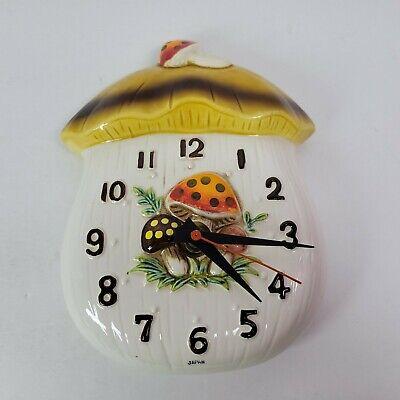Vintage 1977 Merry Mushroom Wall Clock 70's Decor Sears Japan Ceramic WORKS