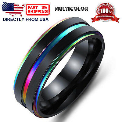 Men's Stainless Steel Ring, 7mm Ridged Edge Comfort Fit Wedding Band  7mm Comfort Fit Wedding Band