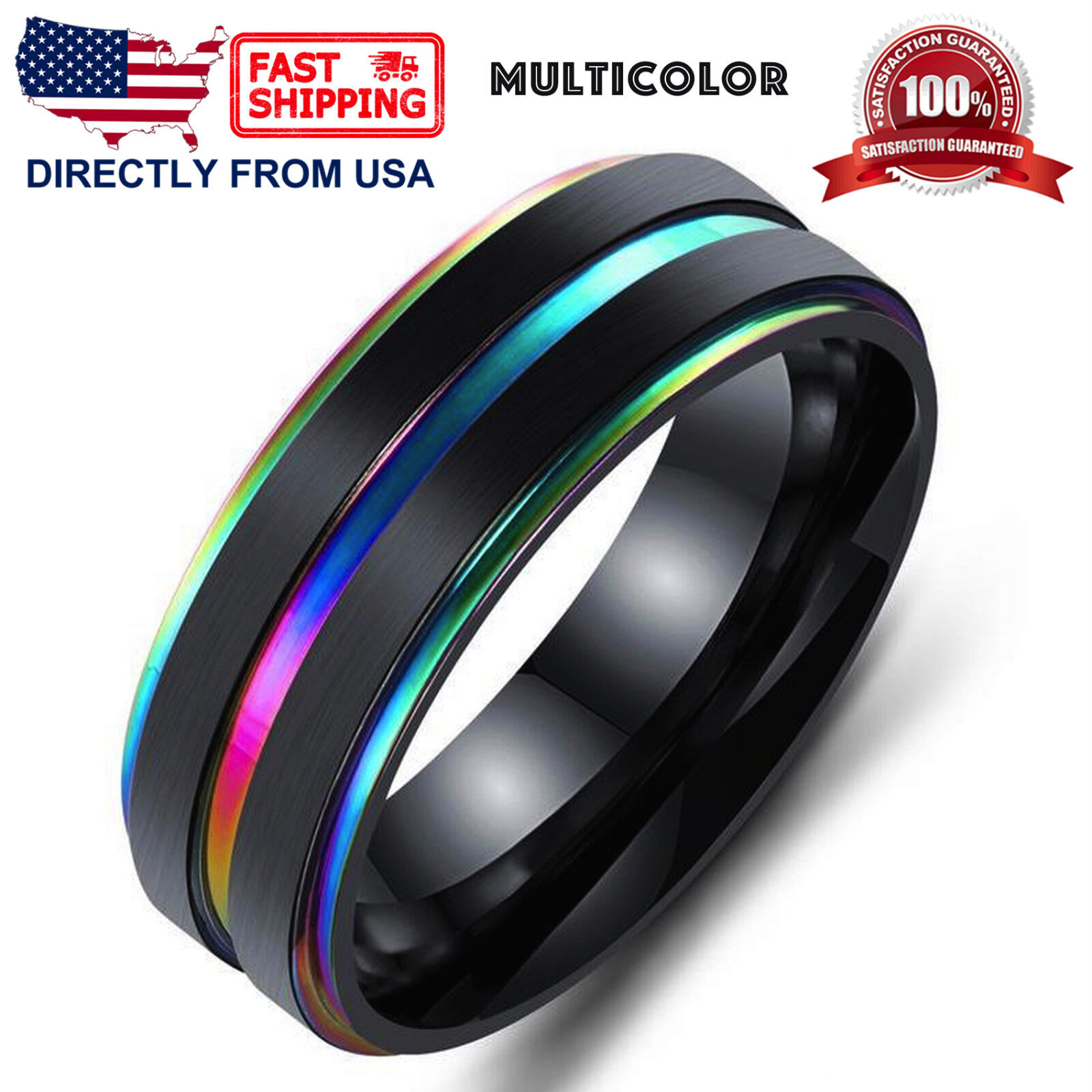 Men's Stainless Steel Ring, 7mm Ridged Edge Comfort Fit Wedding Band Jewelry & Watches