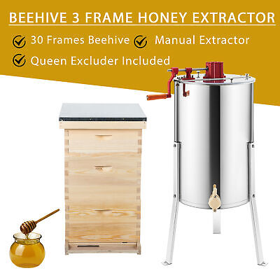 30 Frames Langstroth Hive Frame Beehives And 3 Frame Honey Extractor 24 Drum
