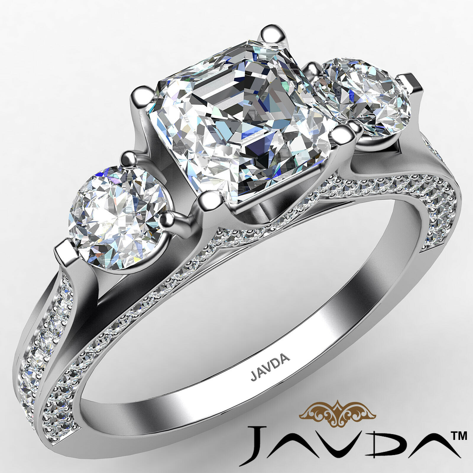 Asscher Diamond Engagement Pave Set 3stone Ring GIA G Color & SI2 clarity 2.1ctw