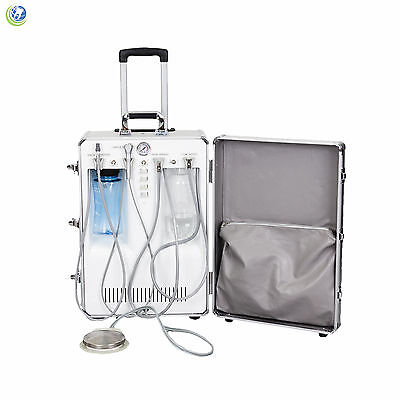 Portable Dental Delivery Unit Rolling Case W Compressor Suction 4h Connections