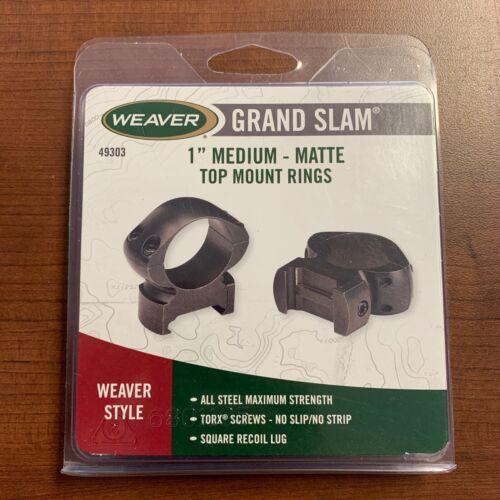 "Weaver Mounts 49303 Grand Slam Rings 1"" Dia Medium 1"" Matte Black"
