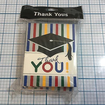 Graduation Thank You Notes (Graduation Stripes Thank You Notes w/Envelopes (25 pack) by CREATIVE)