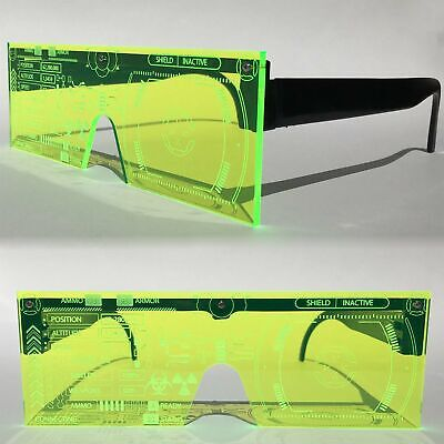 Cyberpunk Futuristic Bionics Tron Costume Cosplay Neon Green Visor Sun (Cyberpunk Glasses)