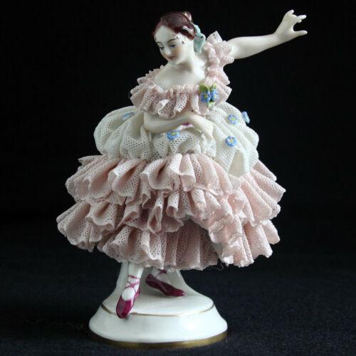 German Volkstedt Dresden Lace Porcelain Ballerina Dancing Lady Girl figurine #2