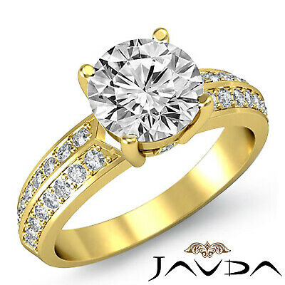 Micro Pave Bezel Setting Round Cut Diamond Engagement Ring GIA H Color SI1 1.3Ct 3