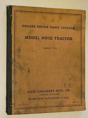 Ac Allis Chalmers Hd10 Bulldozer Crawler Tractor Parts Manual