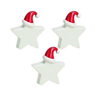 Lustige Tischdeko Stern mit Weihnachtsmütze aus Porzellan Weiß Tischdekoration