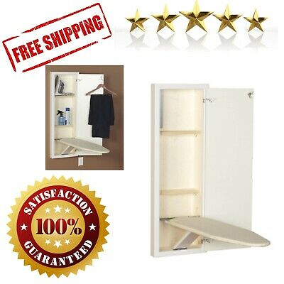 Stowaway Cabinet Built in Ironing Board Cut into Wall to Install White Finish