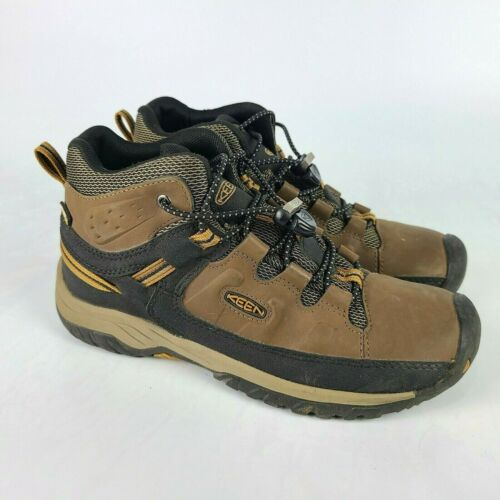 KEEN Targhee Mid Waterproof Hiking Boots 1019834 Brown Leather Youth Size: 5
