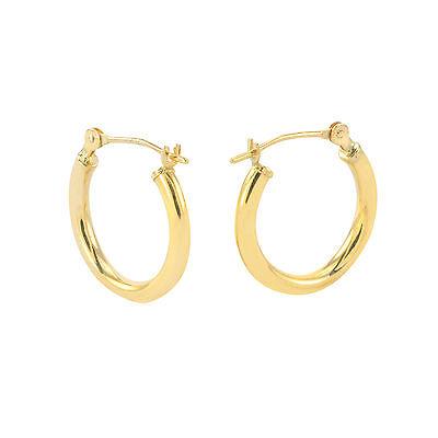 16mm Small-Medium 14k Yellow Gold Hoop Earrings  - High Polish Latch Post Hoops