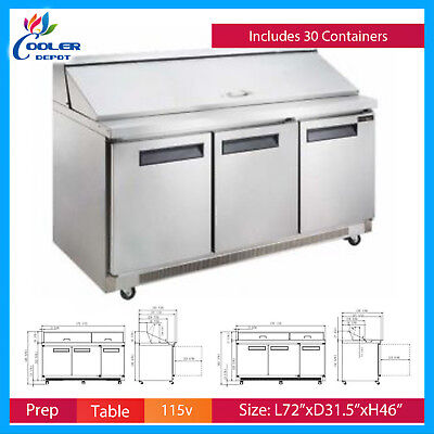 Sandwich Prep Table Refrigerator 72 Commercial Mega Salad Pizza Nsf New 30 Pans
