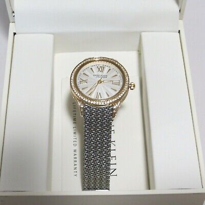 ANNE KLEIN 12/2291SVTT WOMEN'S TWO-TONE SWAROVSKI CRYSTAL MESH WATCH (PRE-OWNED)