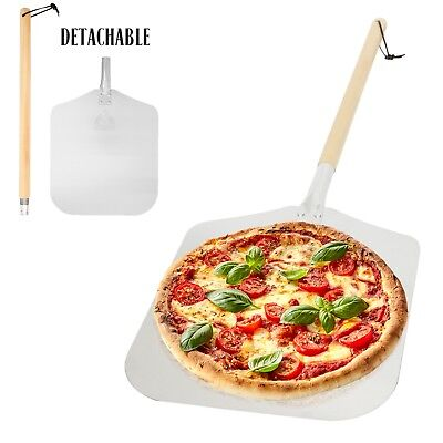 """Aluminum Pizza Peel Paddle with Detachable Wooden Handle, 12"""" x 14"""" inch Blade"""