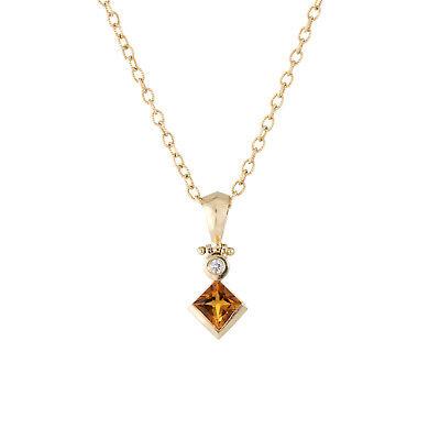Diamond Citrine Necklace Gold Jewelry - Citrine Diamond Drop Necklace Estate 14k Yellow Gold Vintage Fine Jewelry