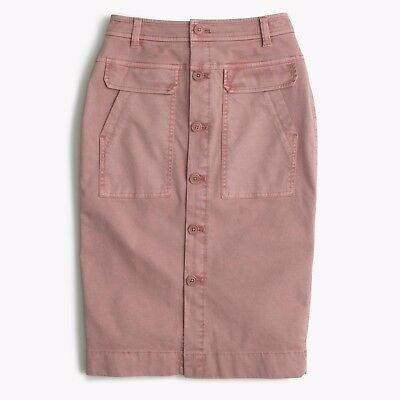 NWT J.Crew Vintage Quartz Pink Button Front Garment Dyed Stretch Twill Skirt 2