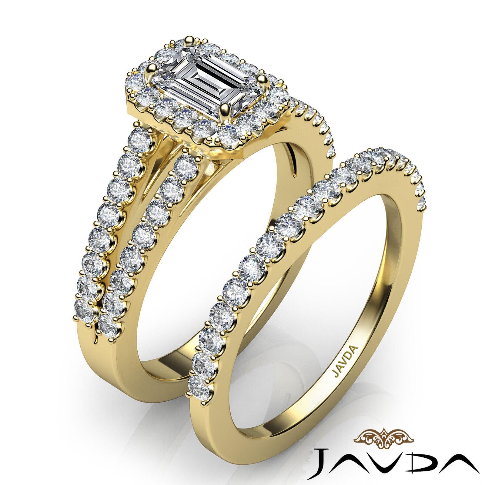 1.75ctw Halo Sidestone Bridal Emerald Diamond Engagement Ring GIA H-VS2 W Gold 10
