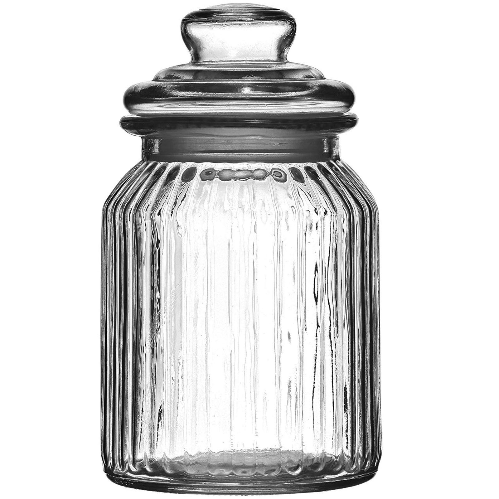 Set Of 3 990ml Ribbed Glass Jars Small Kitchen Sweet Tea Cof
