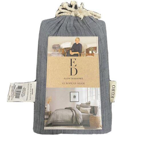 "Ellen Degeneres Belmont Euro Sham Soot Grey Charcoal NIP 26×26"" Pillow Sham Bedding"