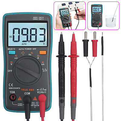 Zt102 Auto Range Digital Multimeter 6000 Count Trms Backlit Ac Dc Voltage Tester