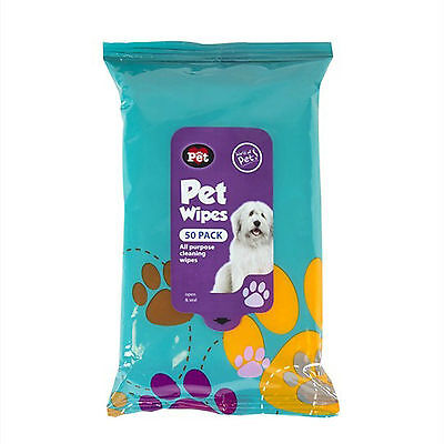 50 Pk Pet Hygiene Wipes Dog Clean Ear Paw Body Grooming Doggy Head Litter