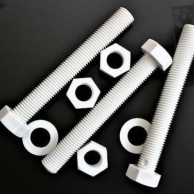 resistente al agua 5x Tornillo de cabeza Hexagonal Polipropileno Blancos PP Pernos Tornillos y Tuercas de Pl/ástico M16 x150mm arandelas