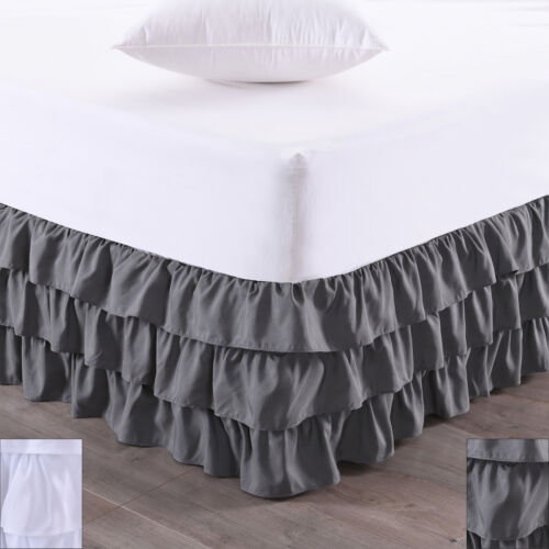 Waterfall 3-Layer Ruffled Bed skirt 14″ Drop Bed Skirts