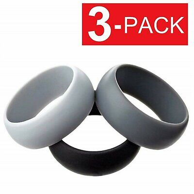 3-Pack Men / Women  Silicone Sport Ring   Wedding Band – 3 Rings Bands without Stones