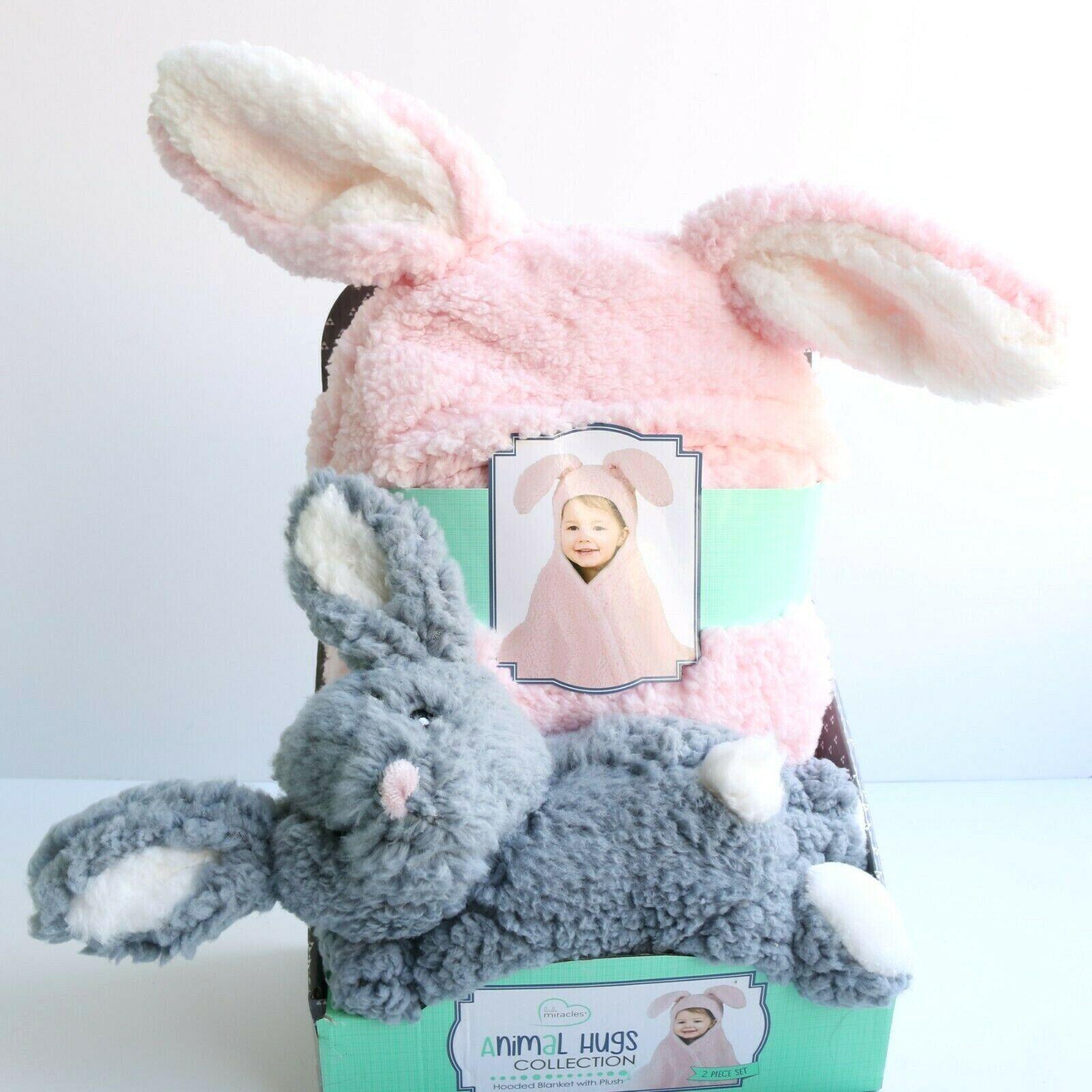 bunny rabbit pink hooded baby blanket plush