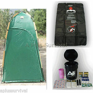 Deluxe shelter solar shower portable toilet kit ebay for Deluxe portable bathrooms