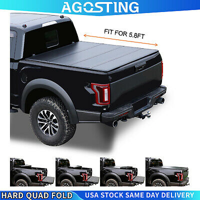 Tonneau Cover For Silverado Sierra 1500 Truck Bed 2007-2021 Hard Quad-Fold 5.8ft