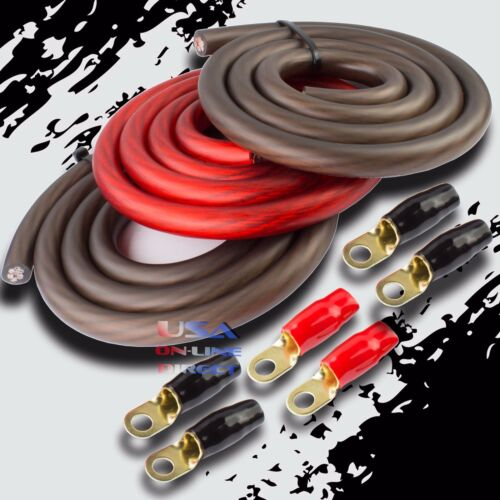 BIG 3 Upgrade 1/0 GAUGE Alternator Electrical RED BLACK Cable Wiring Combo Kit