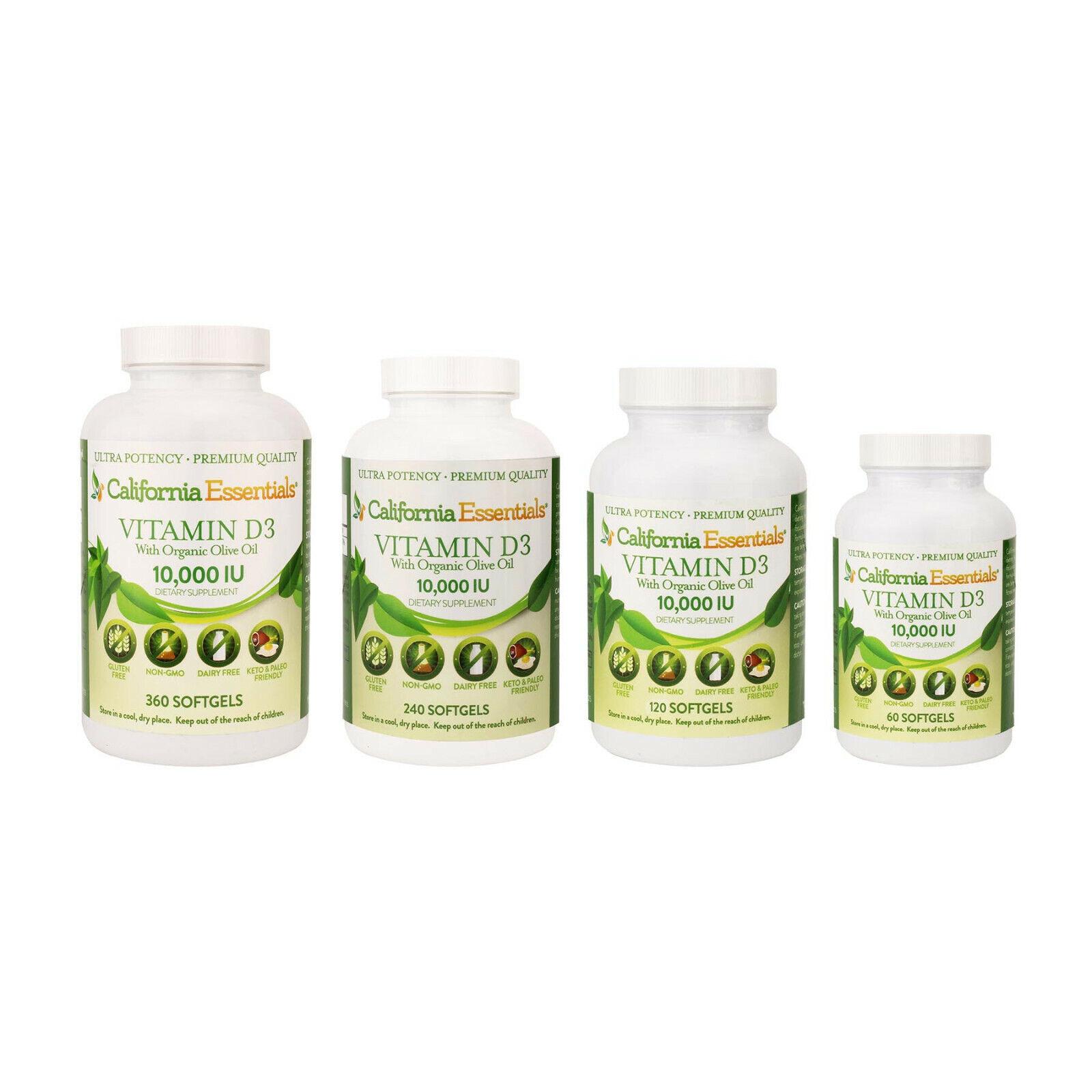 Vitamin D3 10000 IU with Organic Olive Oil Softgels Vit D3 G