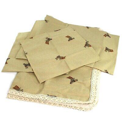 Giraffe Design Beige Printed Table Cloth 180 x 140 cm & 4 Napkins BBQ Summer