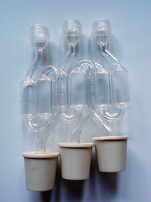 3 ct. S-Shape Twin Bubble Airlock with 3 ct. Buon Vino Stoppers  Bungs - Small