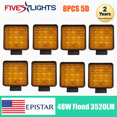 8PCS 48W 5D LED Work Light Flood Yellow 4300K Beam Driving Car Jeep Boat Ford JK