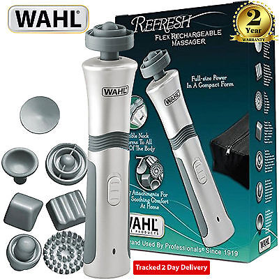 New Wahl Rechargeable Flex Body Cordless Massager With 7 Attachments 4294-027