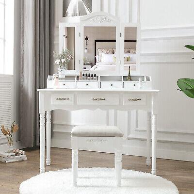 Vanity Makeup Dressing Table Set Folding Mirror Desk Dresser W/Stool Wood White](Mirror Table)