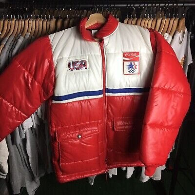 Vintage 90s Team USA Olympics Coca Cola Swingster Puffer Jacket
