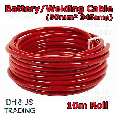 10m Red Battery Welding Cable 50mm² 345a - Flexible Marine Boat Automotive Wire