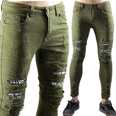 Jeans Slim Fit Uomo Strappati Skinny Aderenti Verde Elastici Pantaloni Strappi